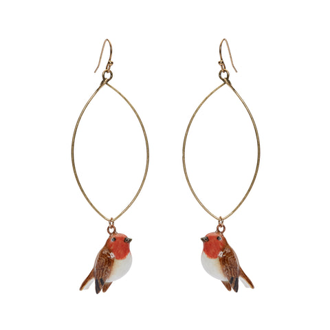 Tiny Robin Oval Drop Earrings