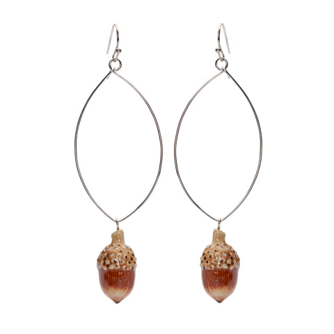 Acorn Oval Drop Earrings
