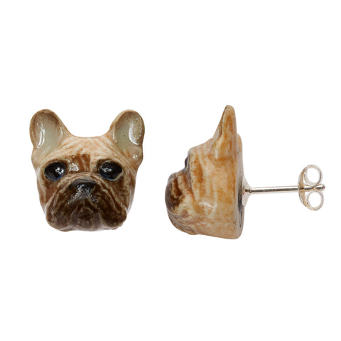Fawn French Bulldog Stud Earrings