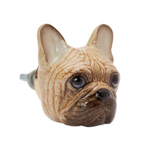 Fawn French Bulldog Head Doorknob