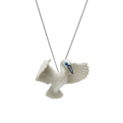 Flying White Heron Necklace