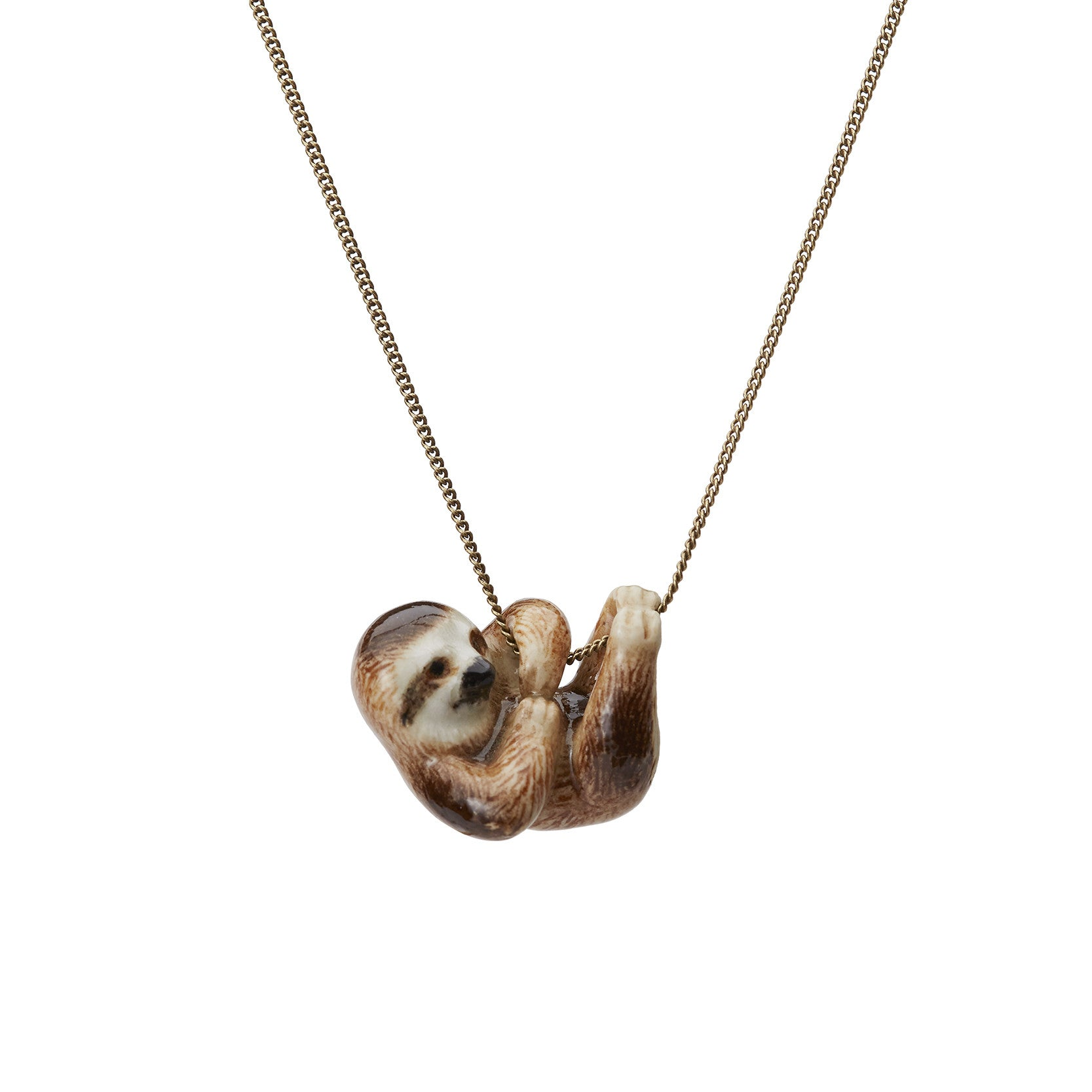 sloth gold dotoly shiny in abstract original products necklace pendant shaped sleek animal