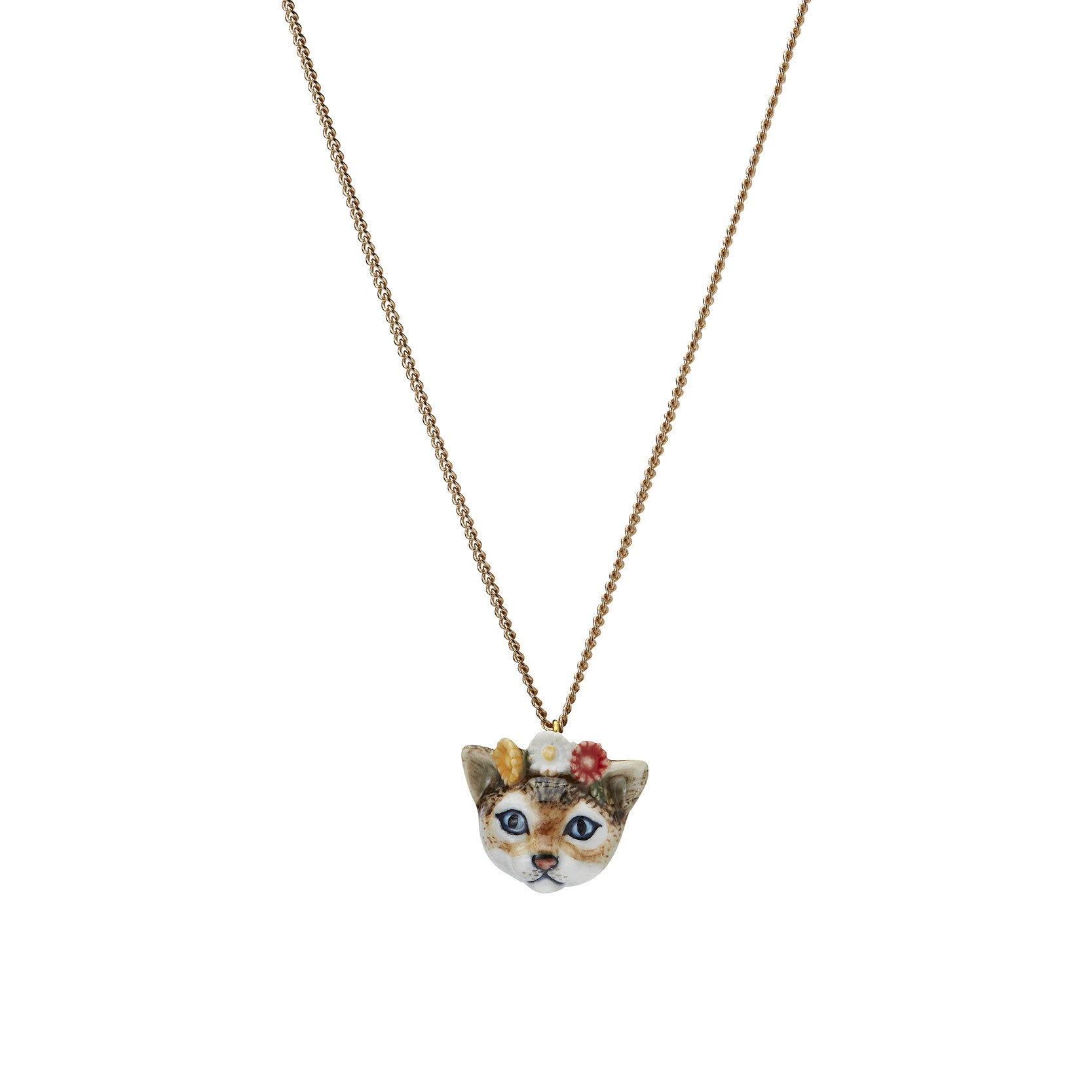 Kitten Head with Flowers Necklace