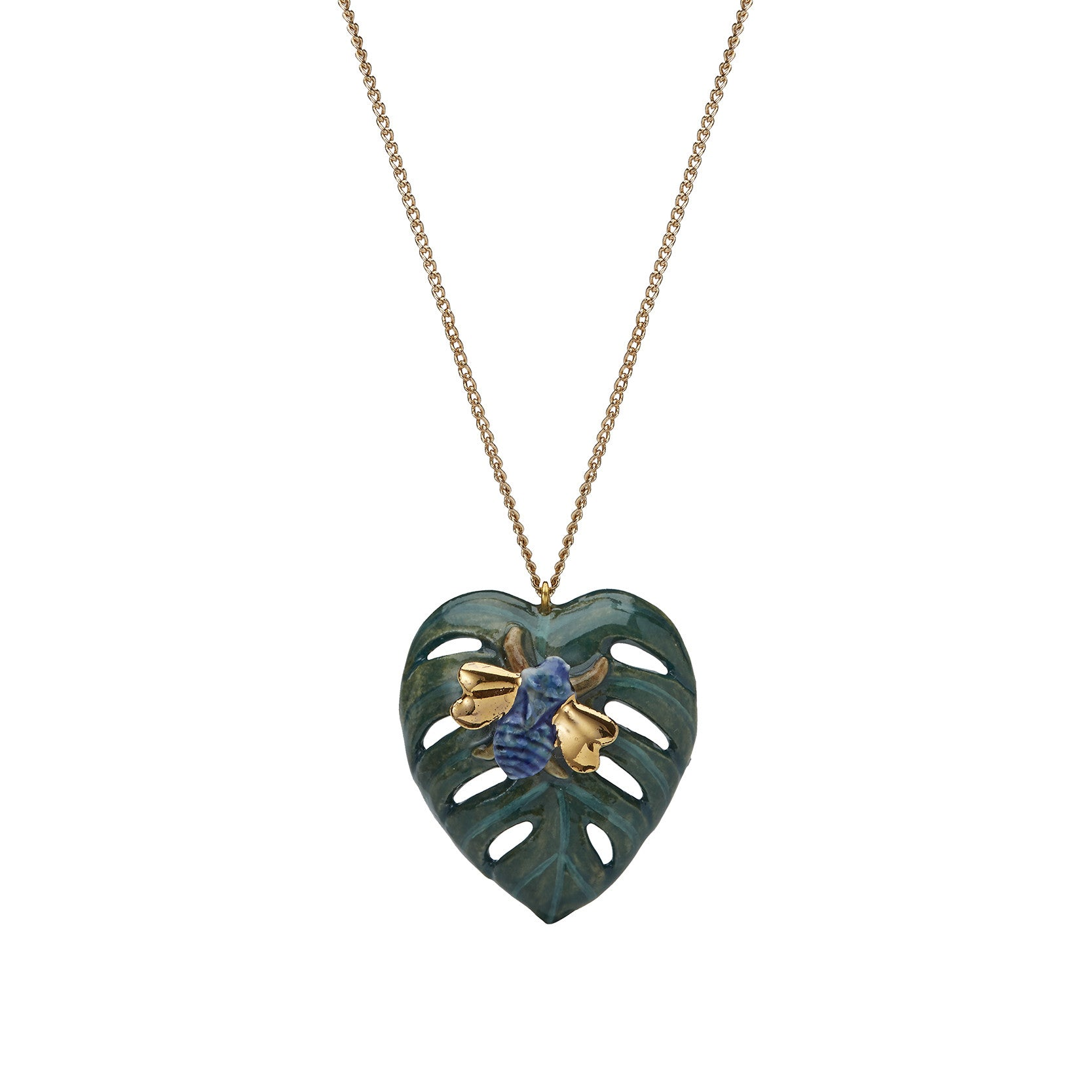 Palm Leaf with Bug Necklace