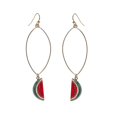 Oval Drop Watermelon Earrings