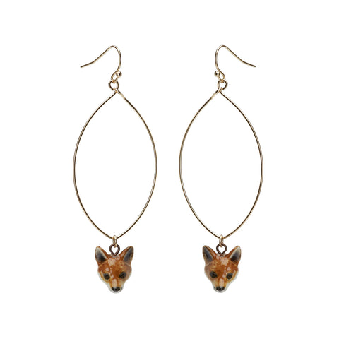 Oval Drop Fox Earrings