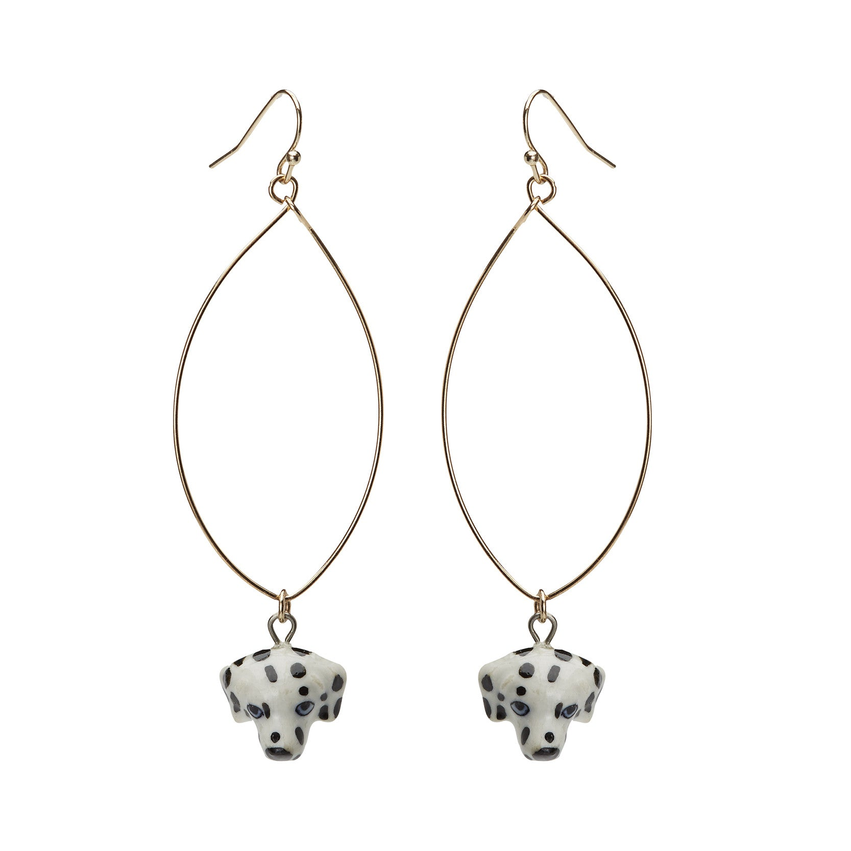 Oval Drop Dalmatian Earrings