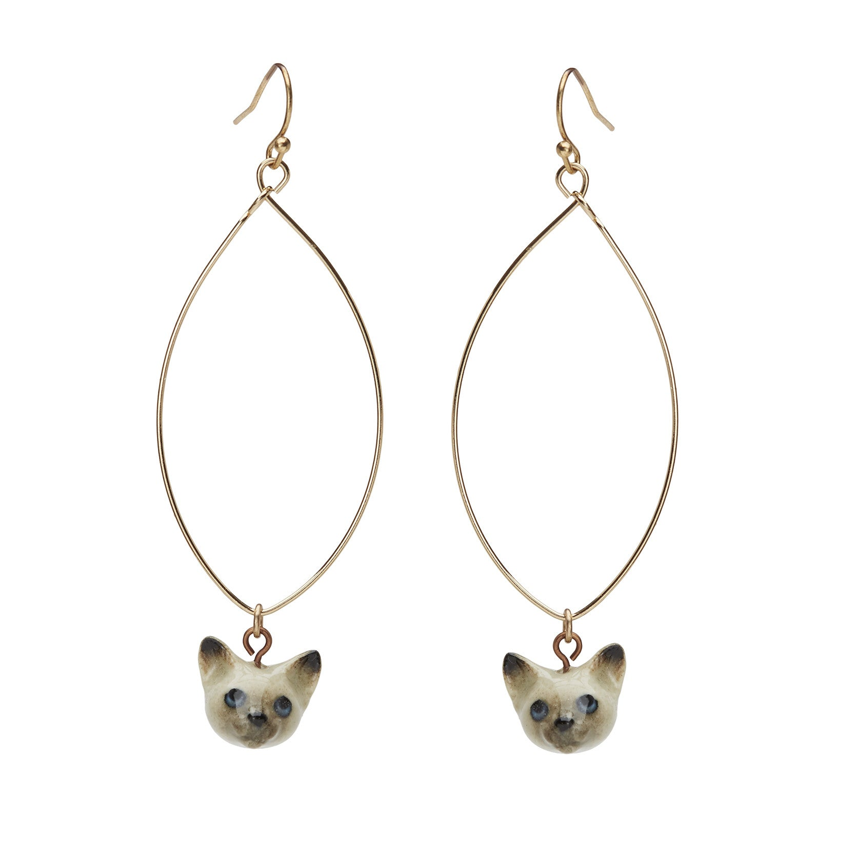 Oval Drop Kitten Earrings