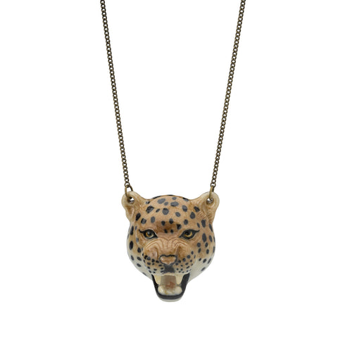 Roaring Leopard Head Necklace