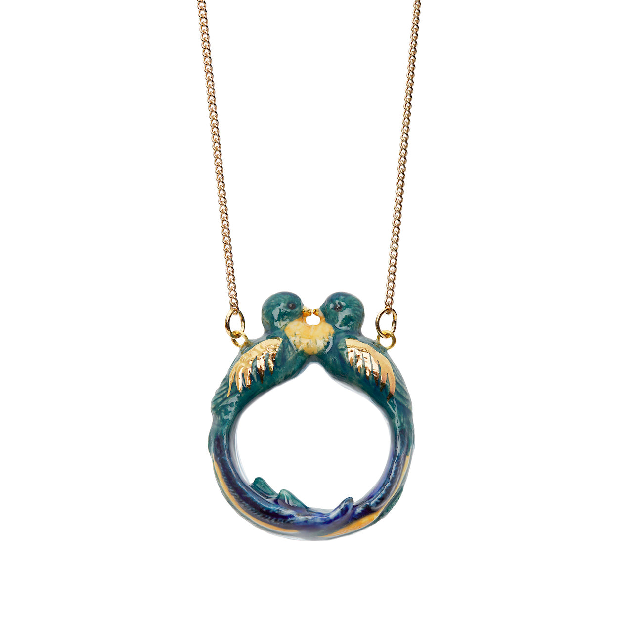 Teal Kissing Loop Tail Birds Necklace