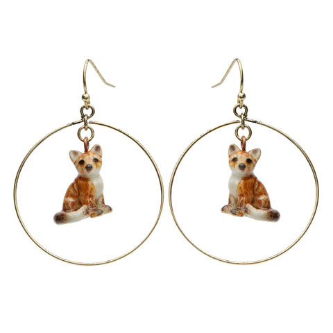 Sitting Fox Round Drop Earrings