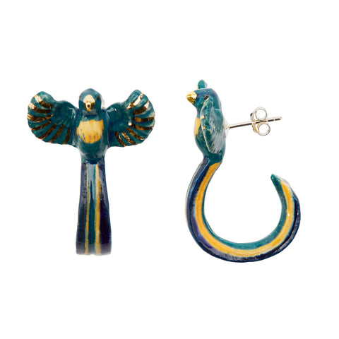 Teal Loop Tail Bird Earrings