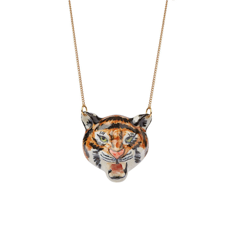 Roaring Tiger Head Necklace