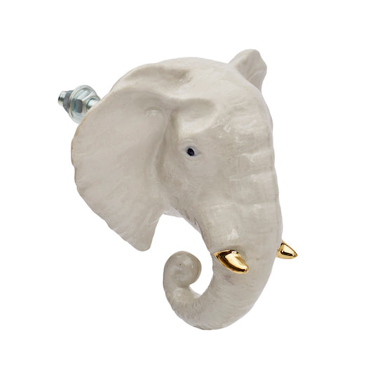 White & Gold Elephant Doorknob