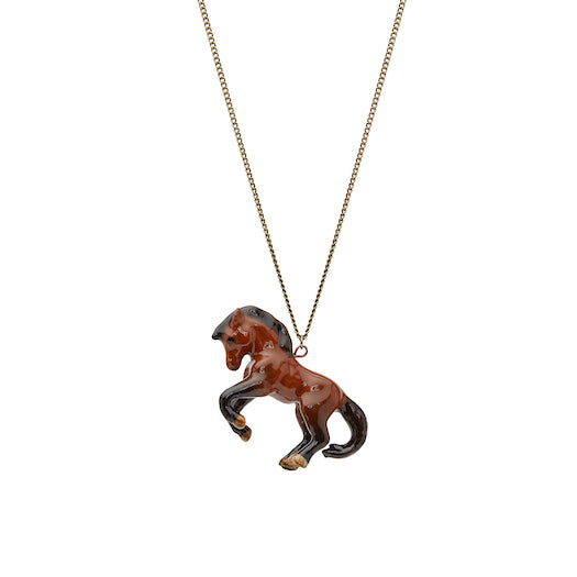 Prancing Brown Horse Necklace