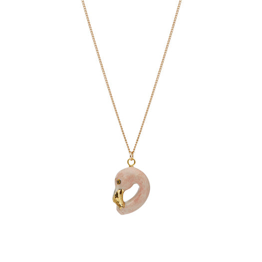 Pastel & Gold Flamingo Head Necklace