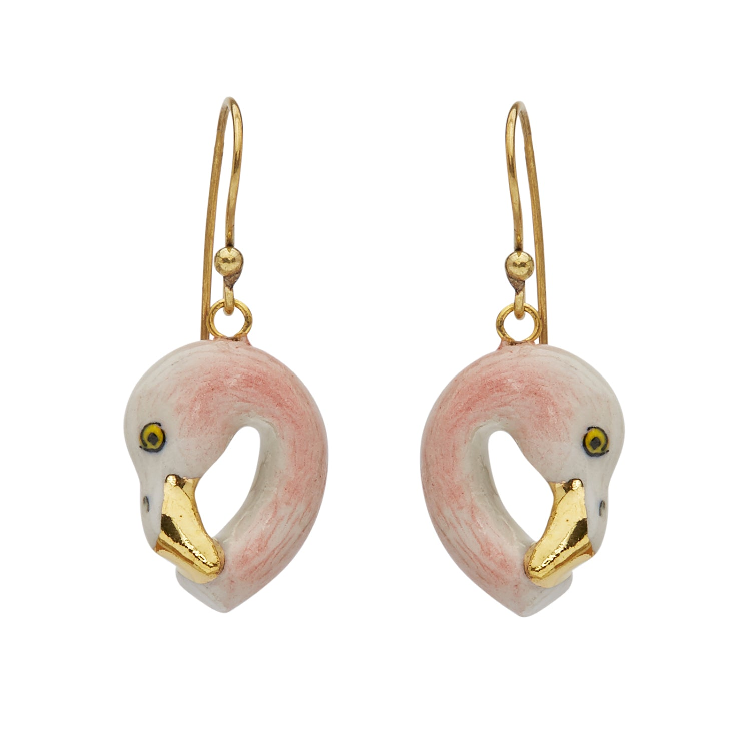 Pastel and Gold Flamingo Head Earrings