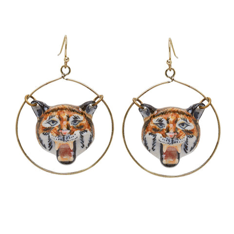 Roaring Tiger Round Drop Earrings