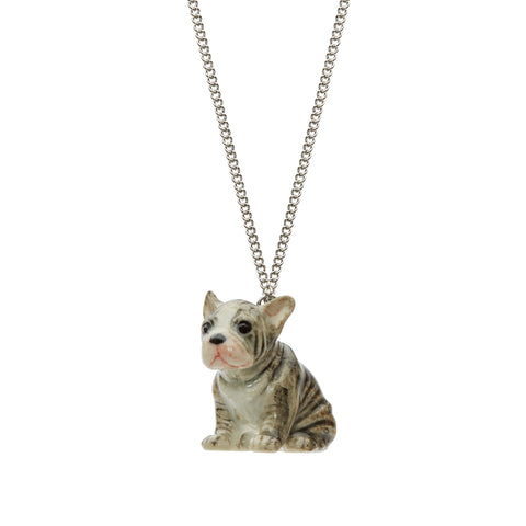 Sitting Grey Frenchie Necklace