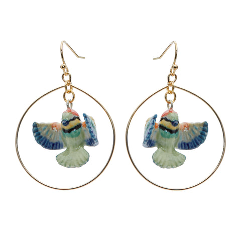 Flying Bee Eater Hoop Drop Earrings