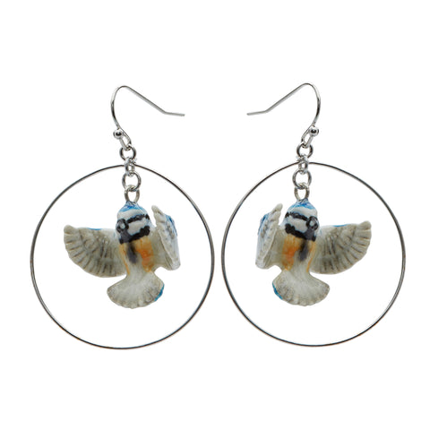 Flying Blue Tit Hoop Drop Earrings