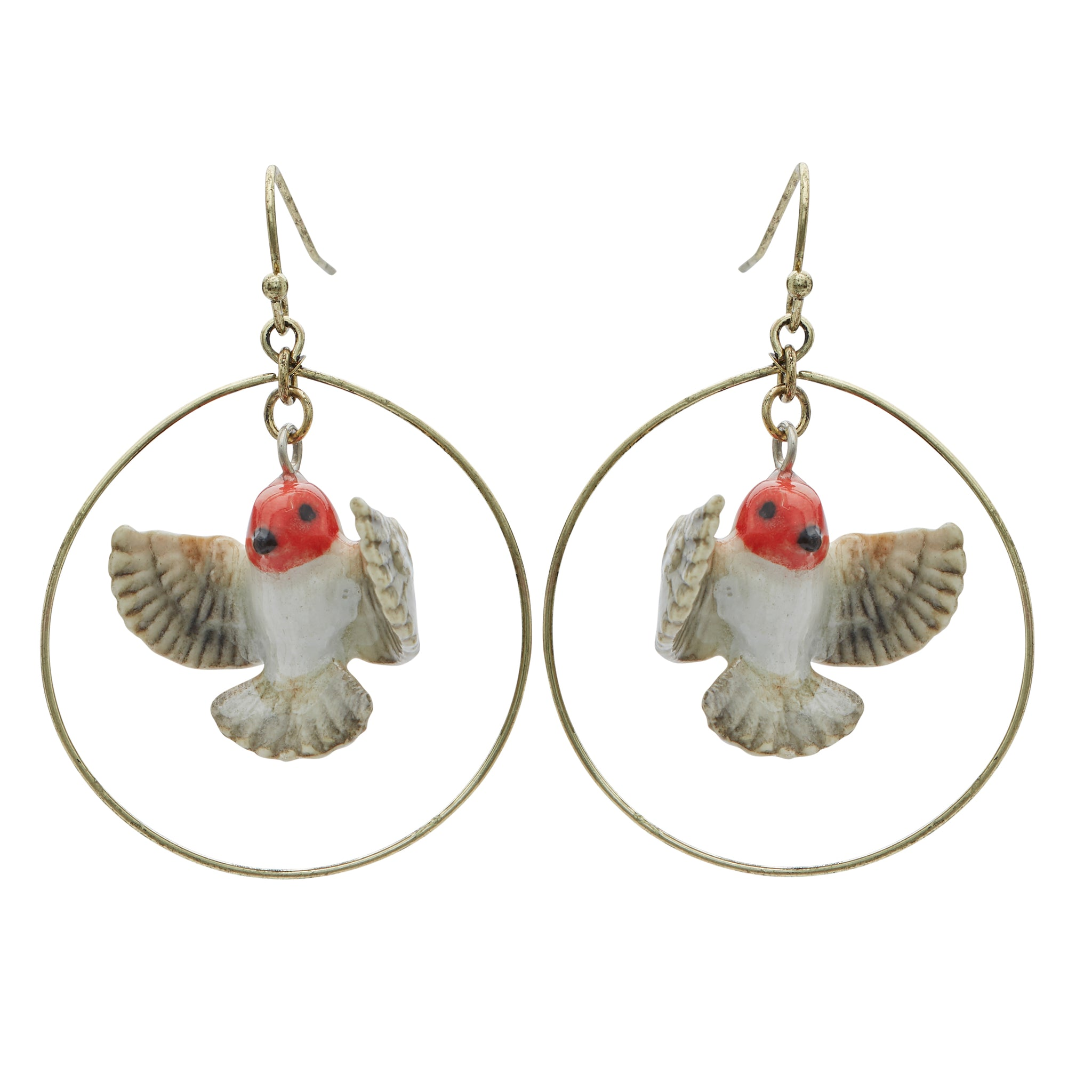 Flying Robin Hoop Drop Earrings