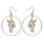White and Gold Unicorn Hoop Drop Earrings