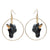 Black and Gold Unicorn Hoop Drop Earrings