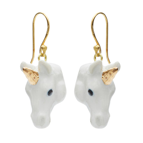 White and Gold Unicorn Drop Earrings