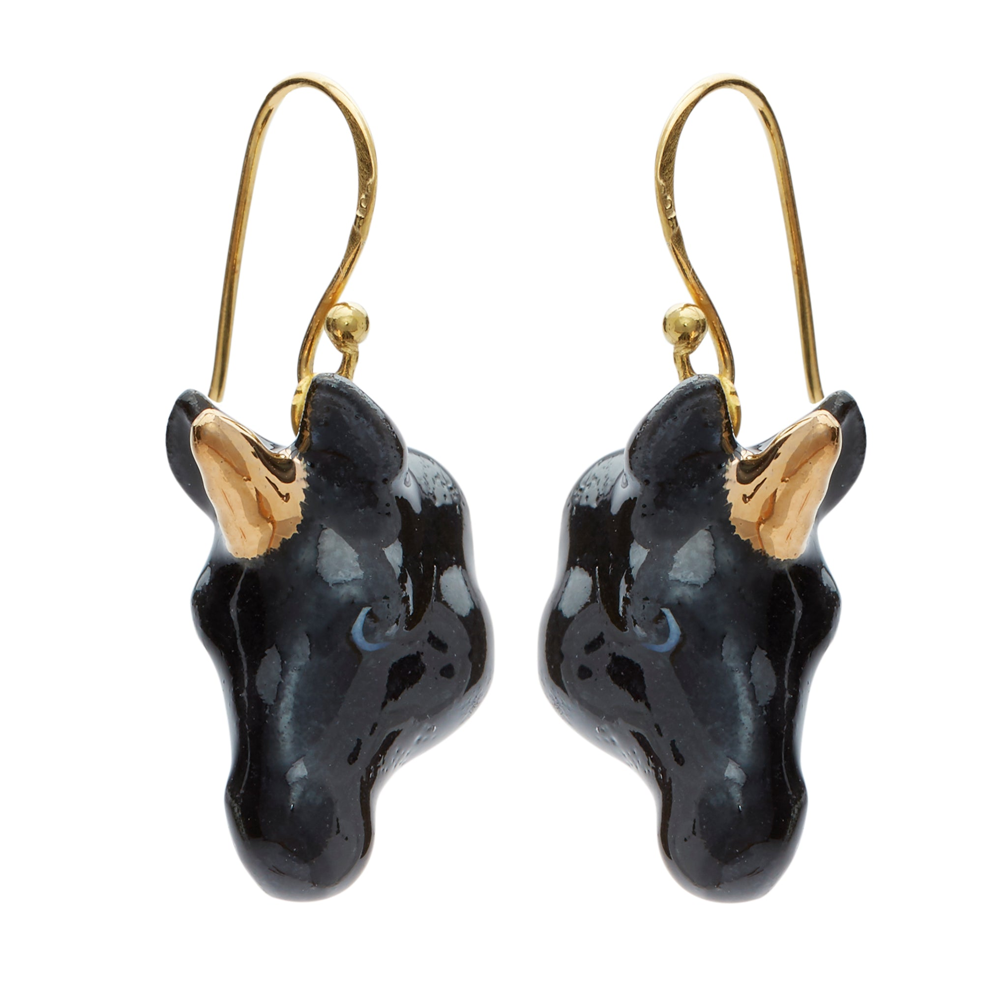 Black and Gold Unicorn Drop Earrings