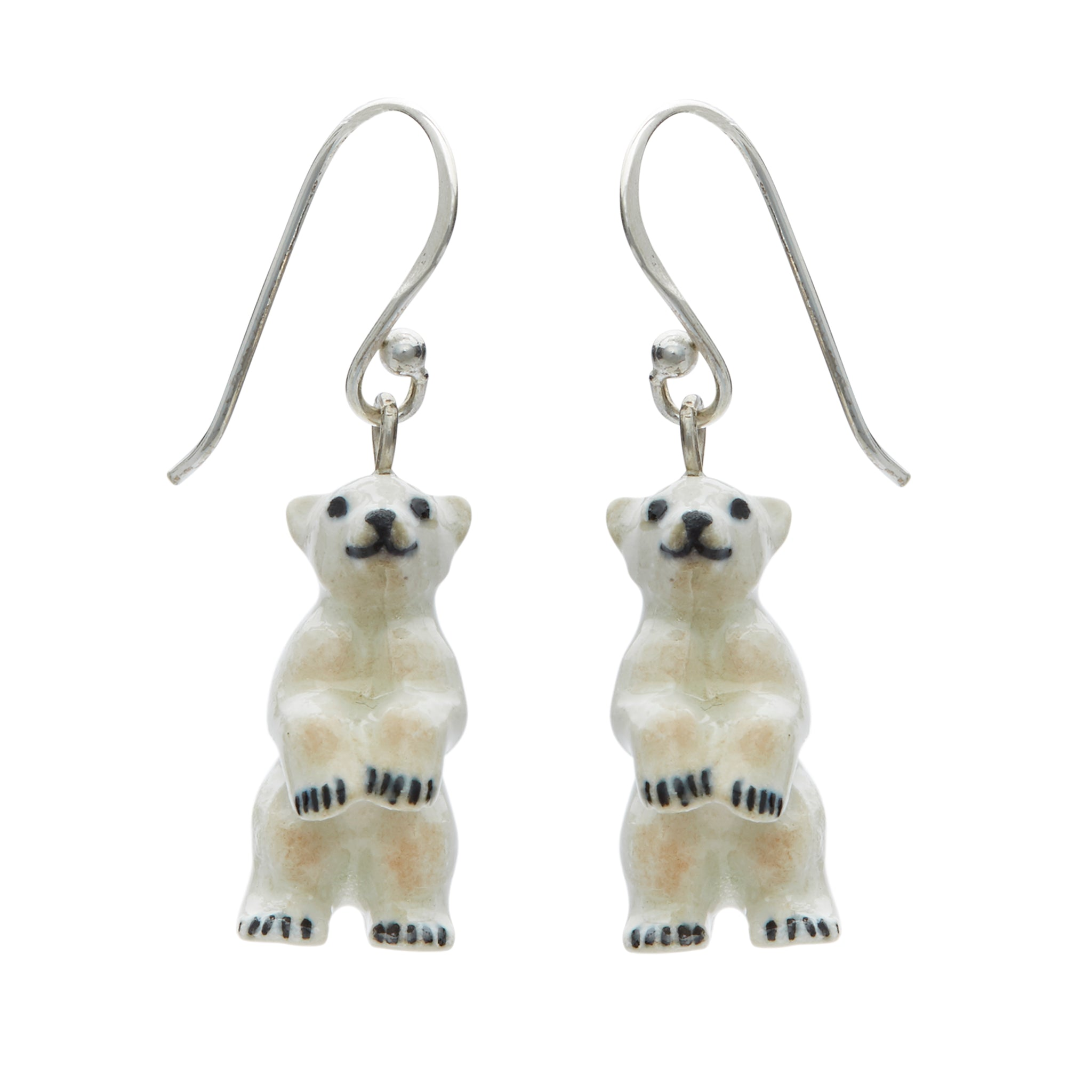 Tiny Standing Polar Bear Drop Earrings