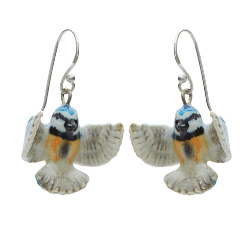 Tiny Flying Blue Tit Drop Earrings