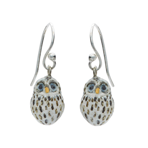 Tiny Baby Snow Owl Drop Earrings