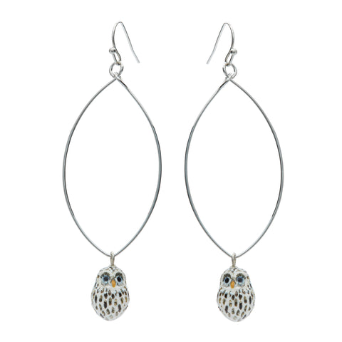 Tiny Baby Snow Owl Oval Drop Earrings