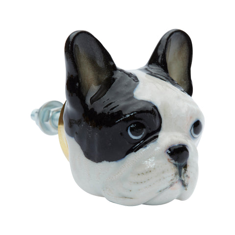 Black and White French Bulldog Head Doorknob