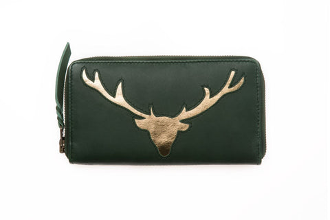 Dark Green Leather Stag Cut Out Purse
