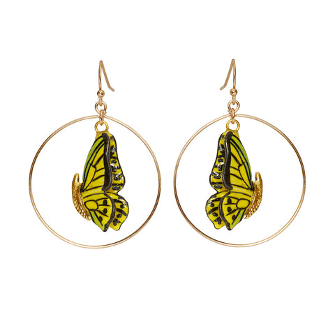 Closed Wing Butterfly Round Drop Earrings