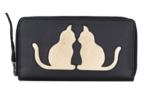 Soft Black Leather Cat Cut Out Purse