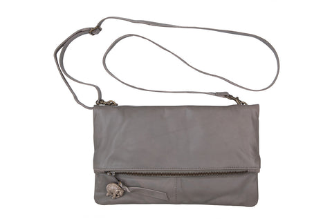 Small Italian Soft Grey Leather Foldover Bag with Elephant Charm