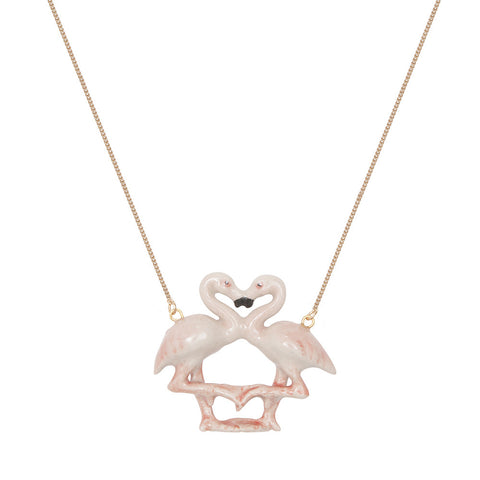 Pastel Flamingo Kissing Necklace