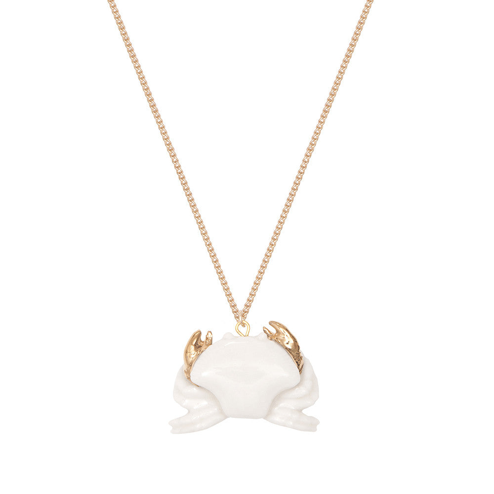 White Crab with Gold Claws Necklace