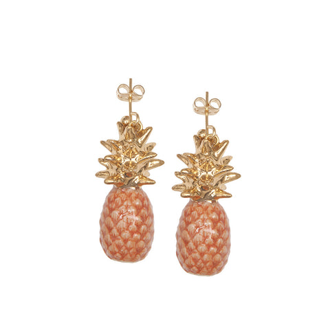 Peach Pineapple Earrings With Gold Leaf