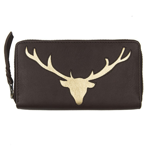 Dark Chocolate Leather Stag Cut Out Purse