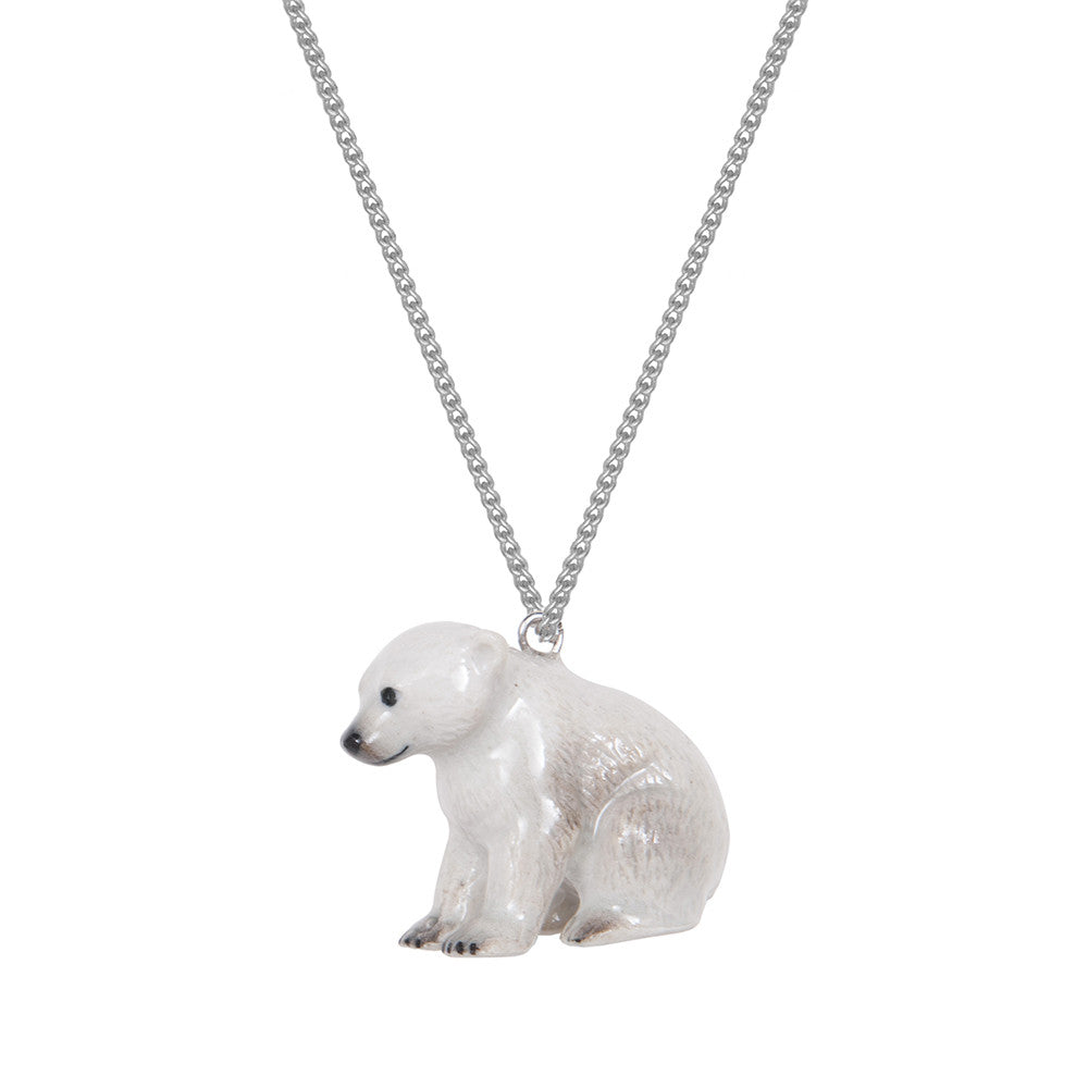 Baby Sitting Polar Bear Necklace with Hook