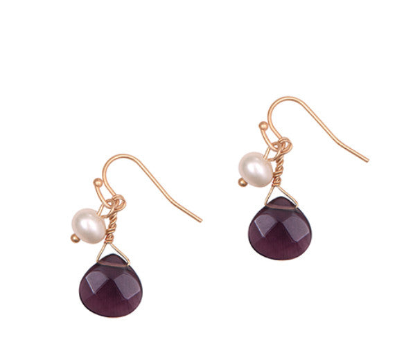 Purple Drop Stone earrings with natural pearl