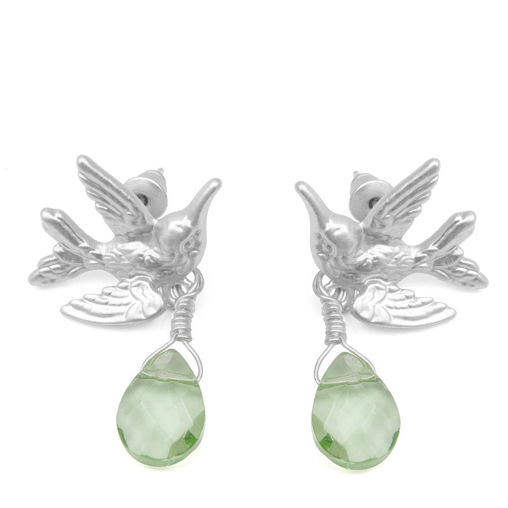 Humming Bird Earrings With Light Green Drop Stone