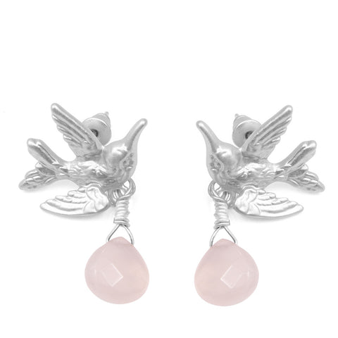 Humming Bird Earrings With Pale Pink Drop Stone