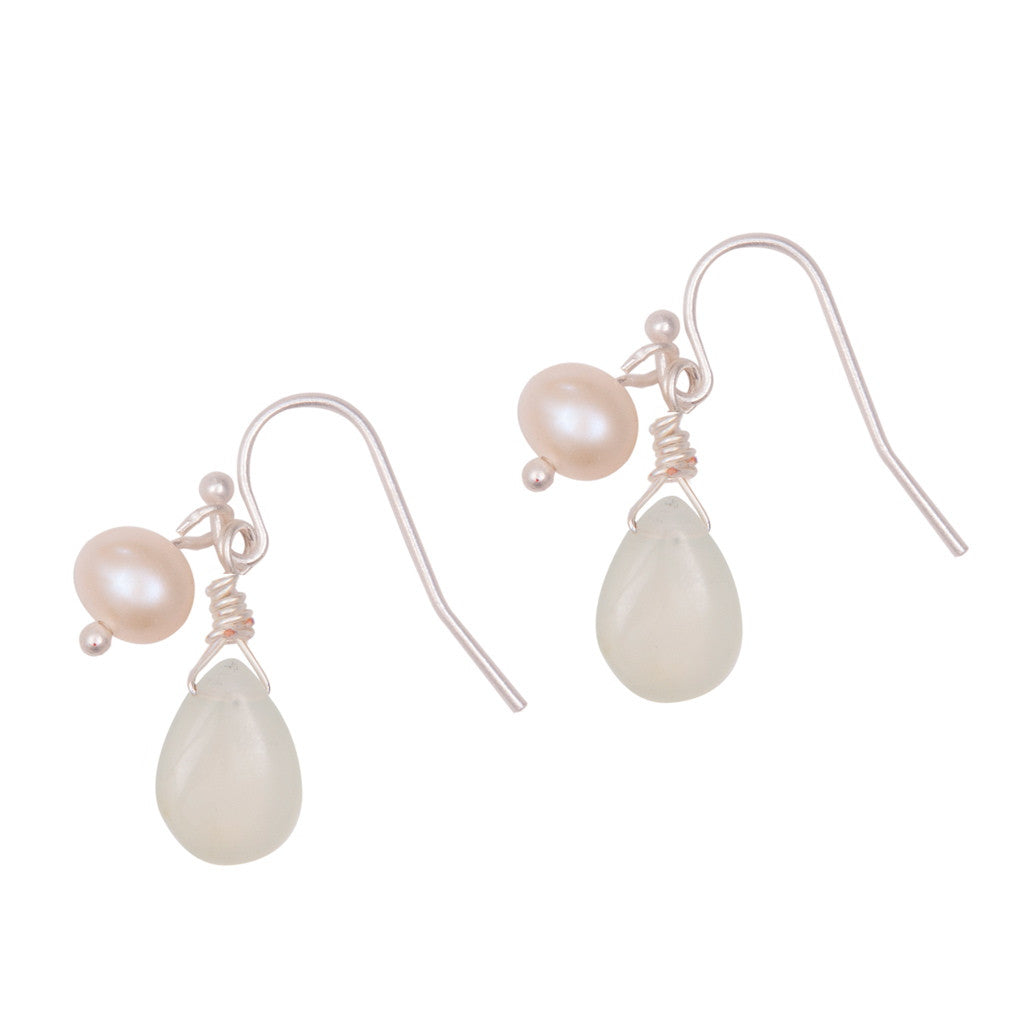 Jade stone drop earrings with natural pearl