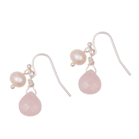 Pink stone drop earrings with natural pearl