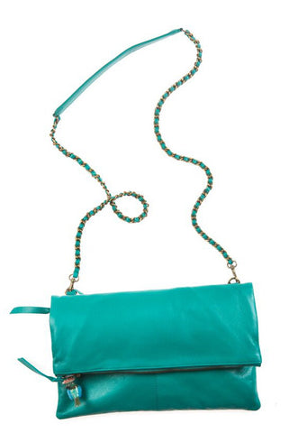 Italian Leather Jade Foldover Bag with Parrot Charm